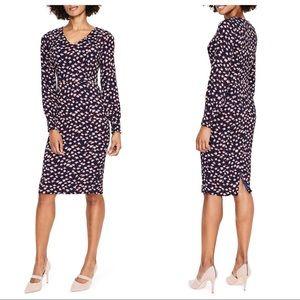 NWT Boden Hannah Long Sleeve Print Sheath Dress